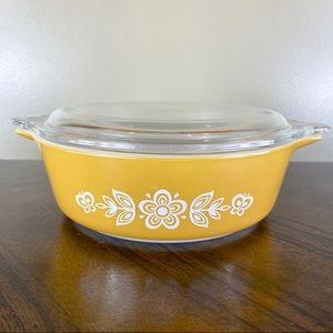 Vintage Gold Butterfly Flower Casserole Dish 471